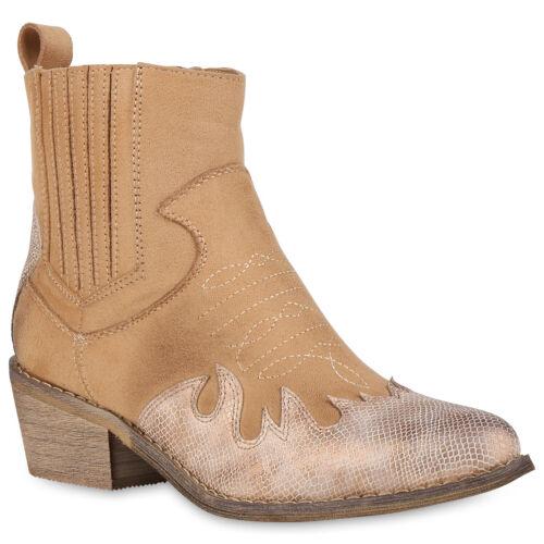 Damen Stiefeletten Cowboy Boots Prints Western Schuhe Booties 830162 Trendy Neu