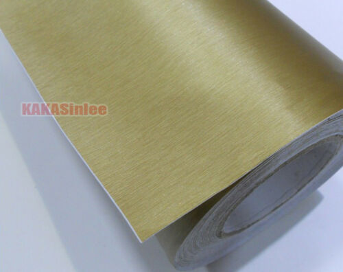 Decor Gold Car House Metal Matte Brushed ALUMINUM Vinyl Wrap Sticker Tape AB