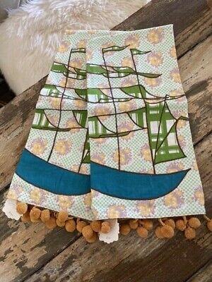 Anthropologie NWT Tea Hand Dish Towel Pom Pons Applique Ship Boat