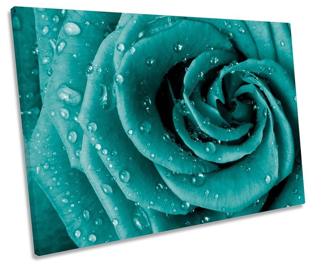 Turchese Floreale Fiore rosa Incorniciato Tela Tela Tela Singola Stampa Wall Art b6c53f