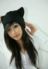 Black beanie Kitty Cat ear hat cosplay anime manga goth punk ski snowboard warm
