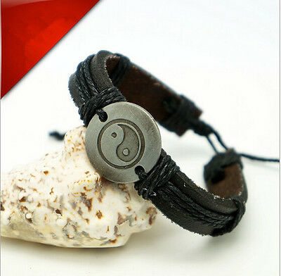 NEW Mens Wrap Leather Charm Infinity Bracelet Women Multilayer Chain Jewelry