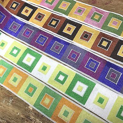 "VINTAGE 1//4/"" FRENCH JACQUARD 1950/'s TRIM Ribbon 1yd Silk Rayon Made in France"