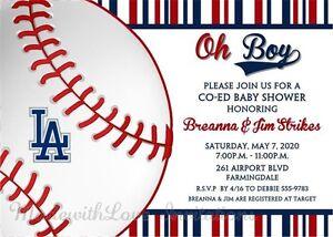 Los Angeles Dodgers Baseball Invitaciones Baby Shower