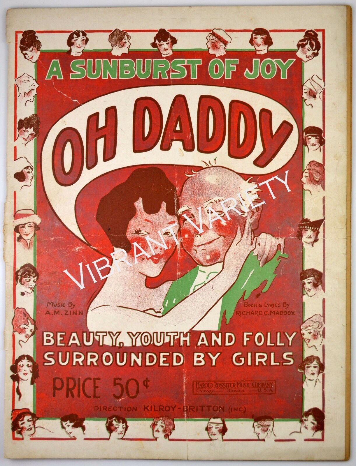 Oh Daddy 1919 sheet music Beauty, Youth and Folly Surrounded By Girls