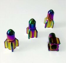 Neo Chrome Rainbow Rocket Tyre Wheel Valve Bullet Dust Caps x4 Car Bike BMX RAT