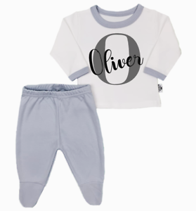 Personalised Initial and Name Organic Baby Pyjamas Footed Baby Gifts Boy Girl