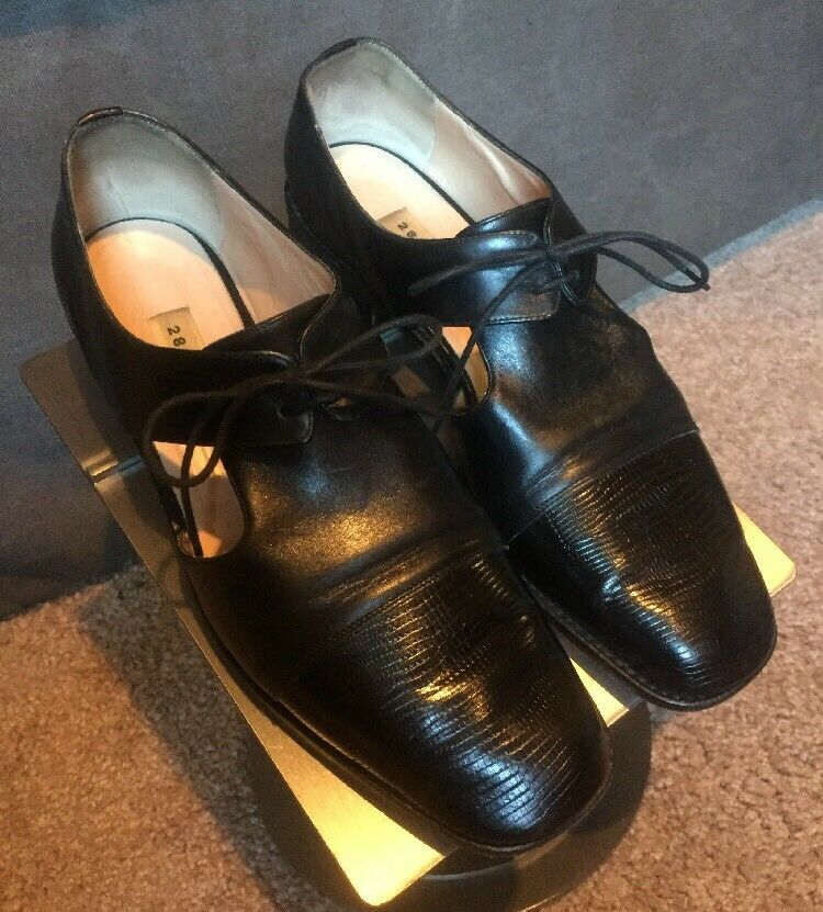 Black Italian Leather Lace Up Menswear shoes In Size 8.5 By 28SHOP