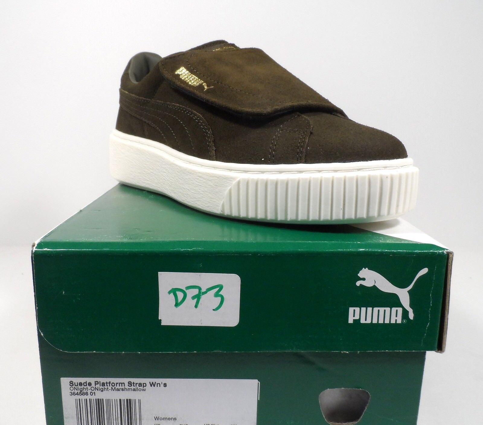 PUMA Women's Suede Platform Strap WN Sneaker Olive Night Marshmallow Size 7
