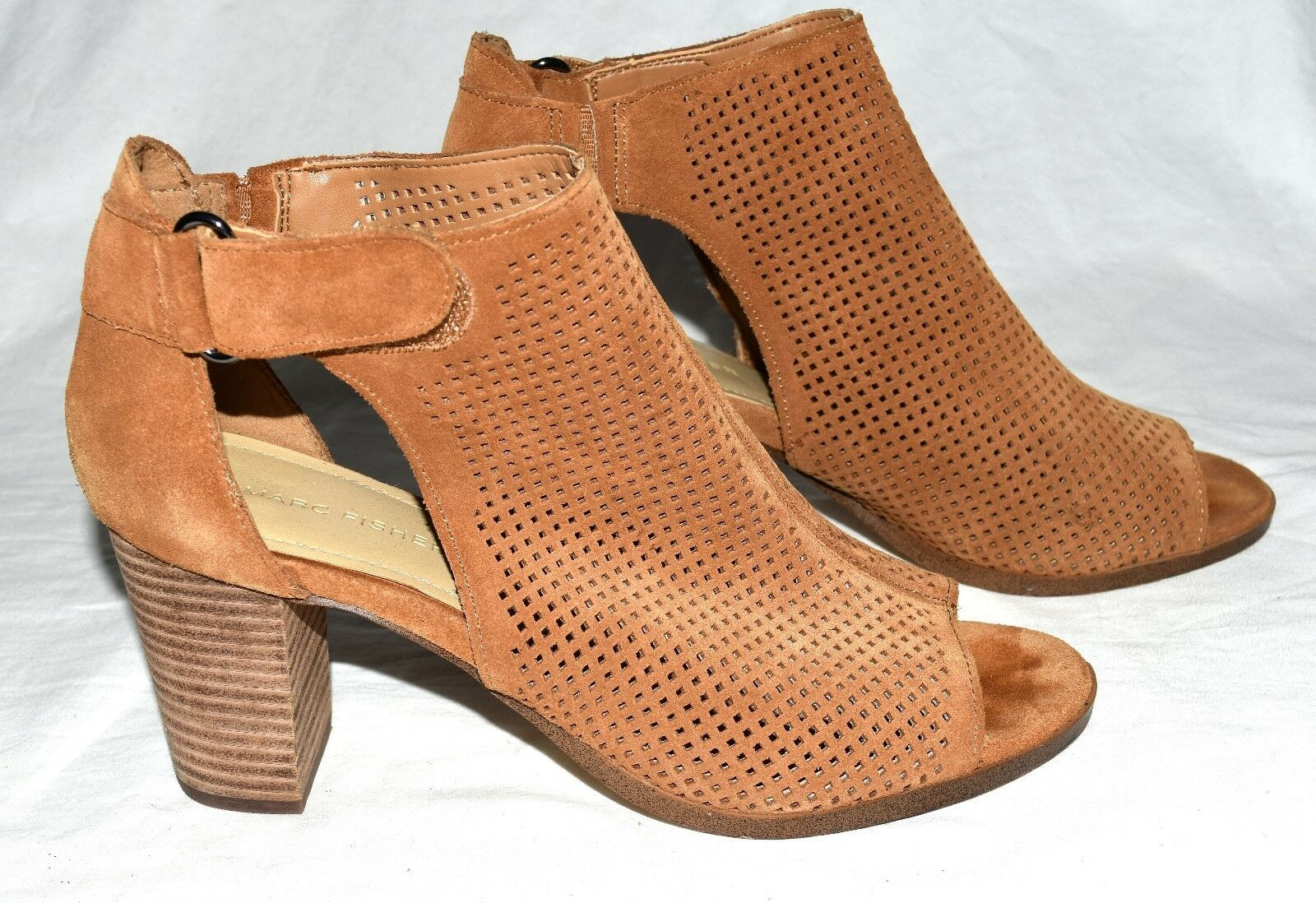 Marc Fisher Demika Perforated Cognac Suede Womens Ankle Strap Heels Size 9 M