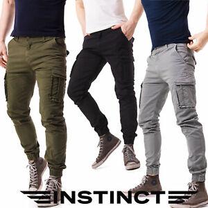 Pantaloni-Uomo-Cargo-con-Tasche-Laterali-Multi-tasche-Militari-Tasconi-Slim-Fit