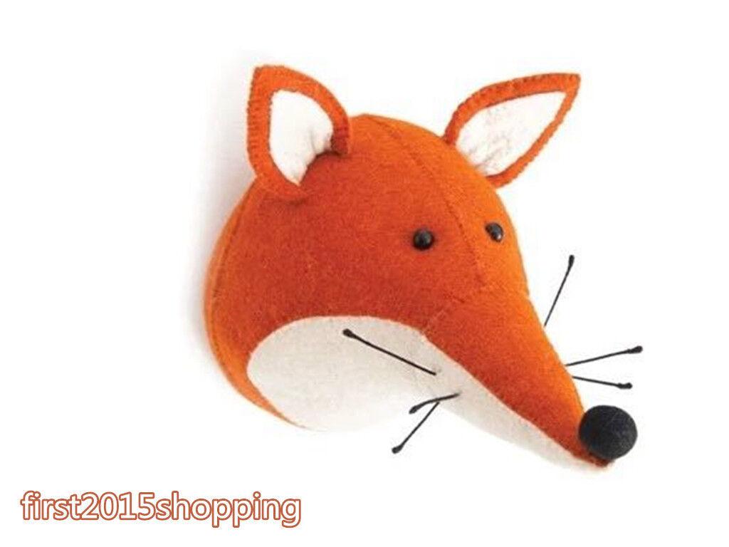 Fox synthétique de la faune Tête Chambre à Coucher Décoration Mural Animal En Peluche Anniversaire Enfant Cadeau