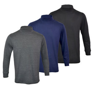 Mens-Polo-Roll-Funnel-Turtle-Neck-Thin-Base-layer-Cotton-Mix-Top-Golf-M-2XL