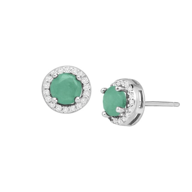 Natural Emerald and White Topaz Halo Stud Earrings in Sterling Silver