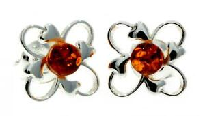 CERTIFIED-BALTIC-AMBER-925-STERLING-SILVER-ART-DECO-STUDS-EARRINGS-M639-VARIOUS