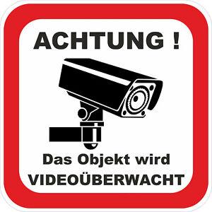 3x-ACHTUNG-Videoueberwachung-Aufkleber-Warnaufkleber-Kamera-UV-Wetterfest-ab-5x5