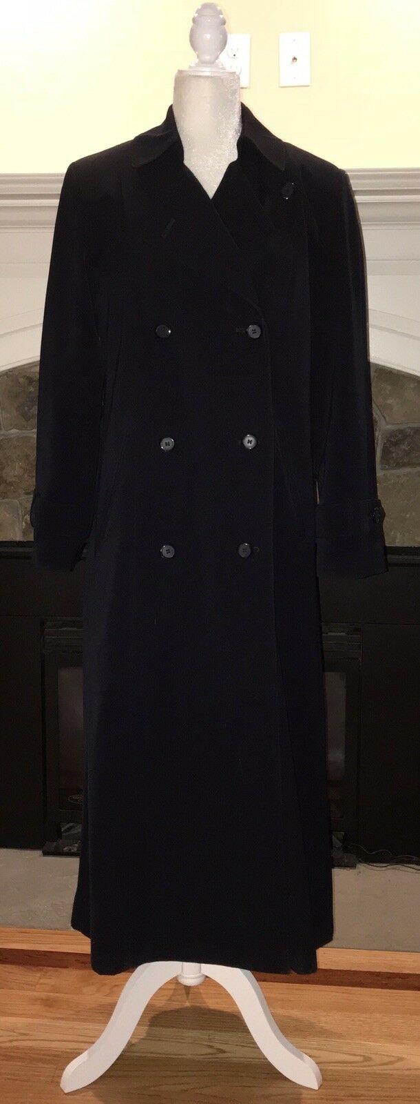 Full Length Trench Walker Raincoat GALLERY Size 4 Small Navy Removable Liner