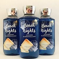 3 Bath & Body Works Beach Nights Shower Gel 10 Fl.oz 295 Ml Summer Marshmallow