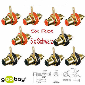 5-x-Schwarz-5x-Rot-Cincheinbaubuchse-Einbaubuchse-Cinch-Chinch-Set-10-171