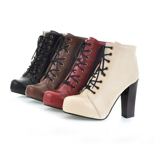 womens boots Platform High Block Heel Ankle Boots Lace Up booties womens shoes