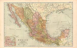 1911 Viktorianisch Landkarte ~Mexico~ Chihuahua Chiapas Yucatan Etc