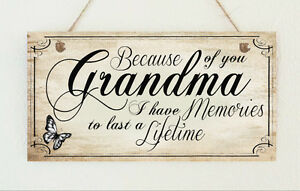 Details about Grandma Memories Distressed Wooden Sign Plaque Chic Gift  Nanny Mother's Day Love