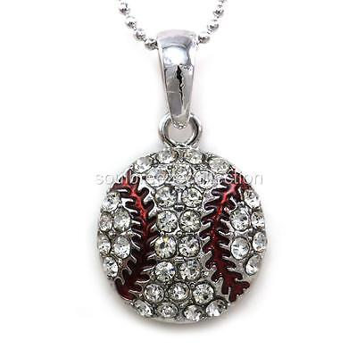 Clear Crystal Baseball Sports Pendant Necklace Teen Fashion Jewelry Enamel Charm