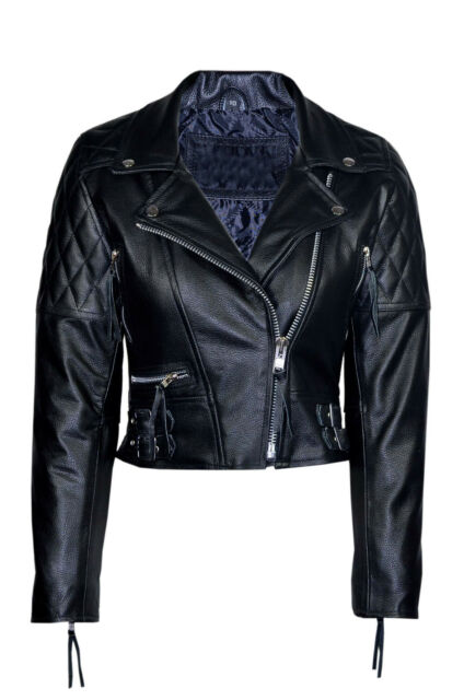 Ladies Model 233 New Quilted Black Fashion Biker Style Hide Leather Rock Jacket