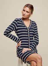 Dorothy Perkins Womens Navy Stripe Buttoned Mini Shift Dress Long Sleeve