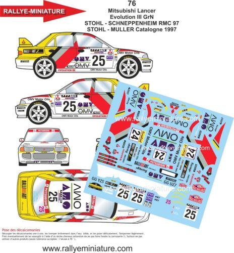 76 Mitsubishi Lancer Stohl Rallye Aufbau Carlo 1997 WRC Aufkleber 1//24 Ref
