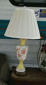 Vintage-canary-yellow-amp-white-flowered-ladies-budouir-lamp