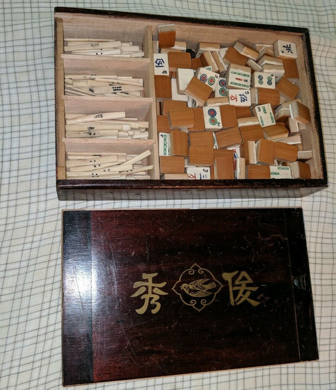 Vintage Mah Jong Game - Jong Bone och Bamboo trä 144 Brices Set Blanks 1930-talet