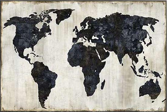 Russel Brennan  The World II Keilrahmen-Bild Leinwand Weltkarte modern