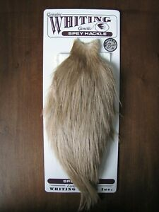 Details about Fly Tying-Whiting Bronze Spey Rooster Cape White dyed Tan #D
