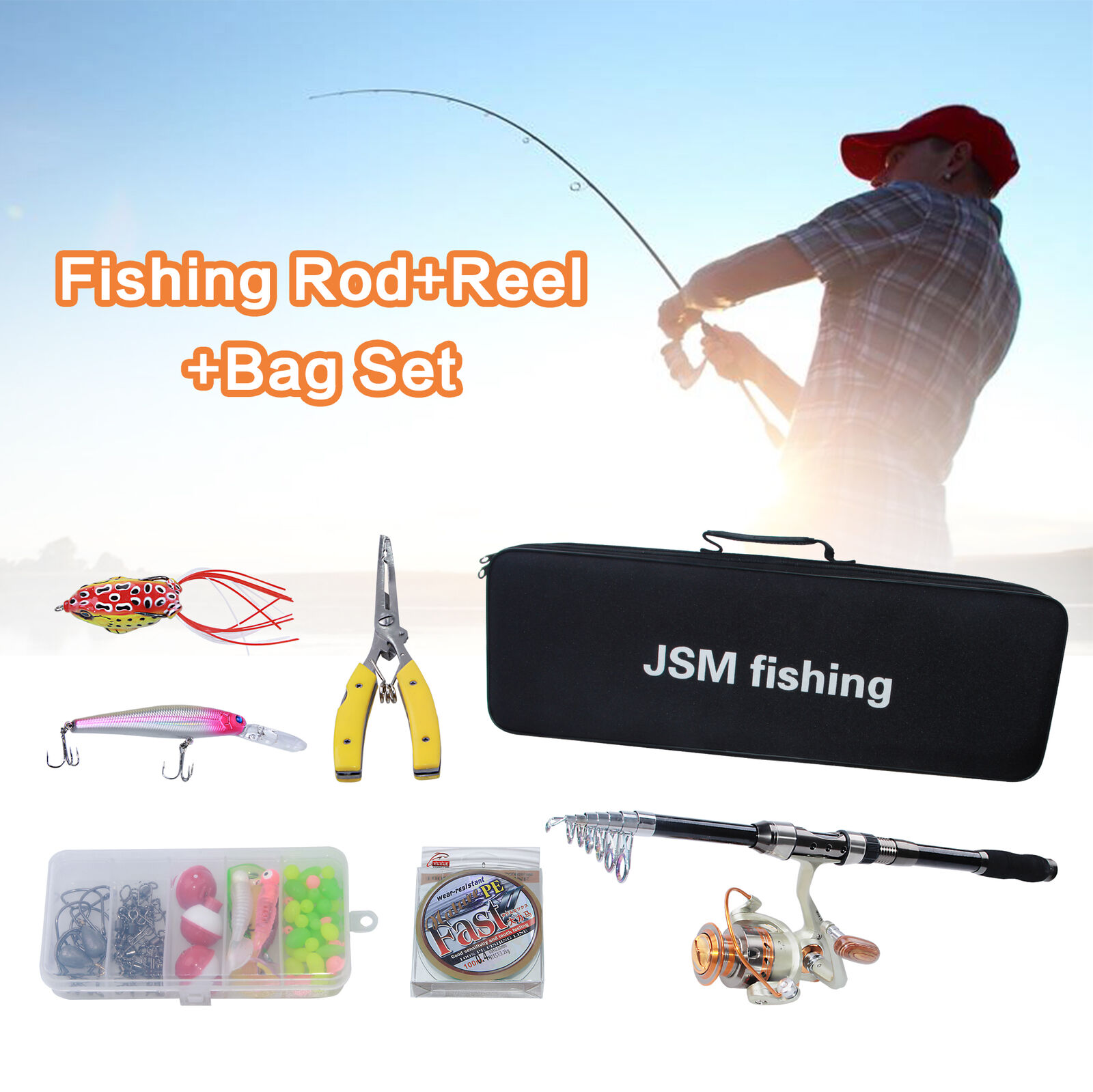 3.6M Telescopic Fishing Rod With Reel Combos Fishing Line Lures Combos Full Kit