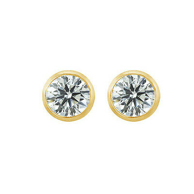2.0 TCW Round Solitaire Stud Earrings Bezel Set Solid 14k Yellow Gold Screw Back