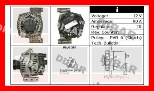ALTERNATORE 90AH FIAT GRANDE PUNTO 1.3 MJET DAL 2005 66KW 90CV CODICE 1022118612
