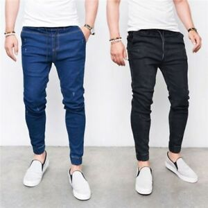 Men-039-s-Skinny-Slim-Fit-Jeans-Denim-Style-Straight-Fit-Trousers-Casual-Pants