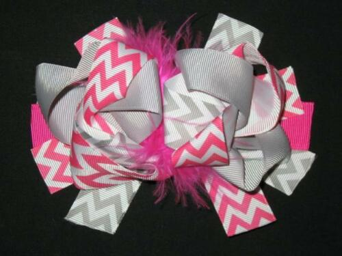"NEW /""Pink /& Gray CHEVRON/"" Fur Hairbow Alligator Clips Girls Ribbon Bows 5.5 in"