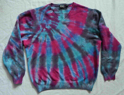 XL Mens Hand Made Psychedelic Pure Cashmere Tie Dye Blue Purple V-Neck Sweater