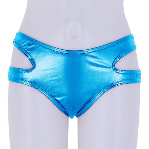 Women Shiny Strappy Bikini Booty Shorts Hollow Out Panties Mini Briefs Underwear