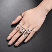6pcs Boho Vintage Turquoise Elephant Animal Ring Set Midi Finger Knuckle Rings
