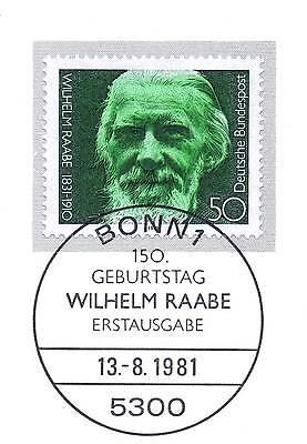 Aufstrebend Brd 1981: Wilhelm Raabe Nr. 1104 Mit Dem Bonner Ersttags-sonderstempel! 1a! 154
