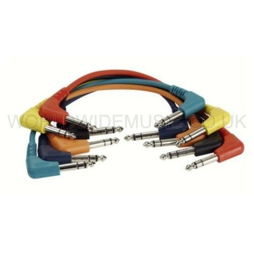 90cm long FL4290 6 STEREO Patch Leads Cables with Right Angle Jack Plugs