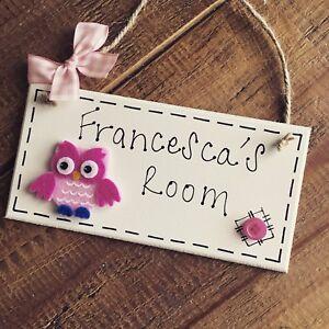 owl name plaque door nursery bedroom sign gift baby girls room