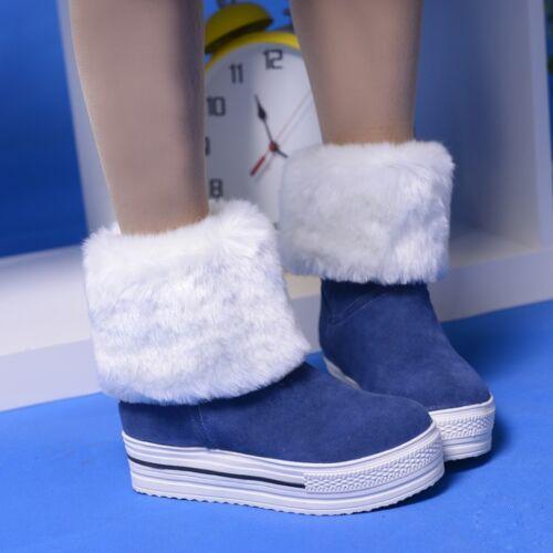 Womens Winter Fashion Fur Furry Round Toe Platform Shoes Snow Boots Plus Size