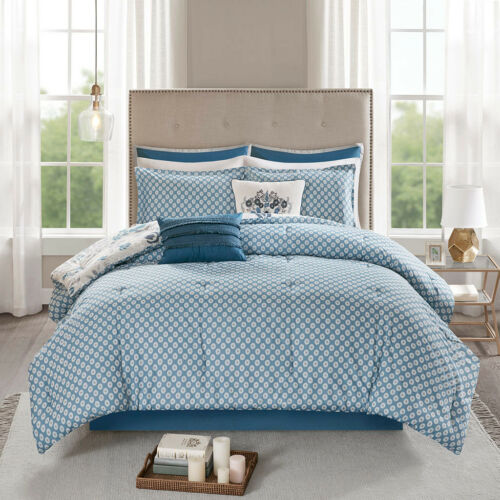 Elegant Grey Navy Bohemian Reversible Cotton Comforter 8 pcs Cal King Queen set