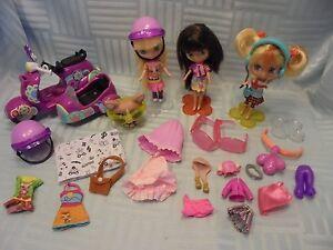 Littlest Pet Shop LPS Blythes Doll Lot 3 Girls + 1 Dog + Accessories Storage Bag