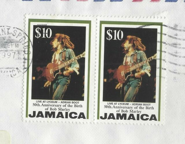 Jamaica Bob Marley $10 pair on cover to USA