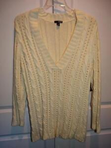 3542ab1073e NWT Women's A.N.A. ANA Ivory Chunky V-Neck Long Sleeve Sweater Top ...